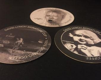 DAVID LYNCH 3 Coffee Coasters (Eraserhead + 6 Man Getting Sick + Industrial)