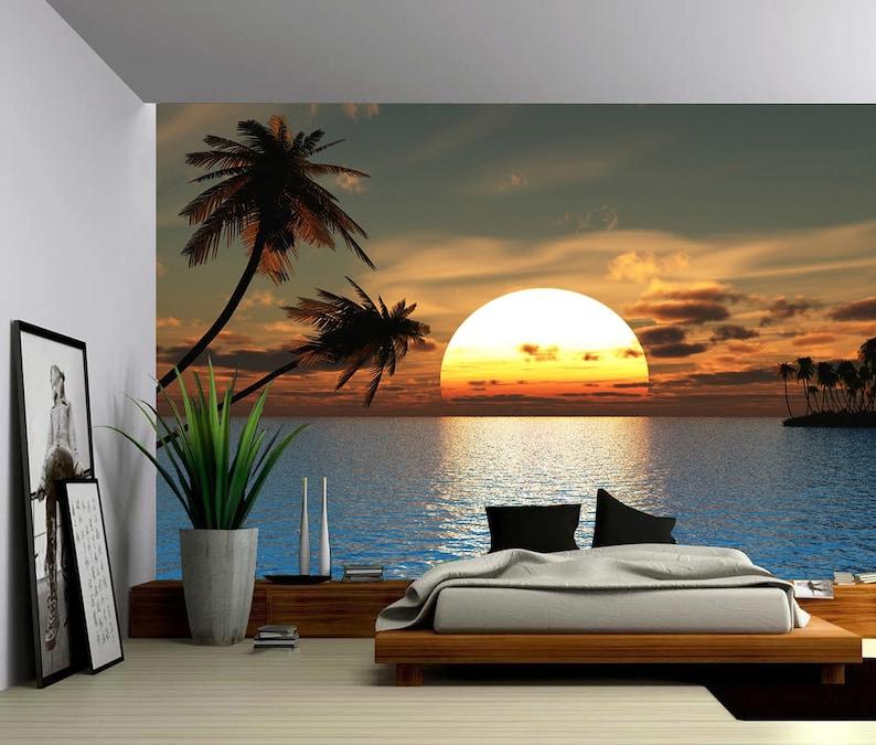 Palmera Tropical Sunset Ocean Gran Mural De La Pared Etsy