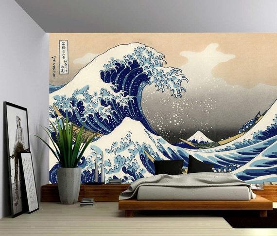 The Great Wave Off Kanagawa Large Wall Mural Self Adhesive Etsy