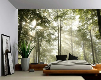Forest Tree Rays Of Light   Large Wall Mural, Self Adhesive Vinyl Wallpaper,