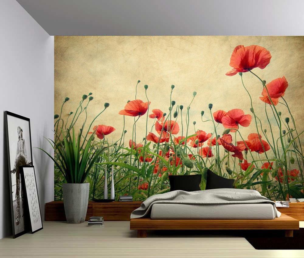 Red Poppies Large Wall Mural Self-adhesive Vinyl Wallpaper | Etsy