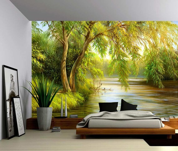Peel /& Stick fabric wall decal Self-adhesive Vinyl Wallpaper Large Wall Mural Summer Brich Forest River
