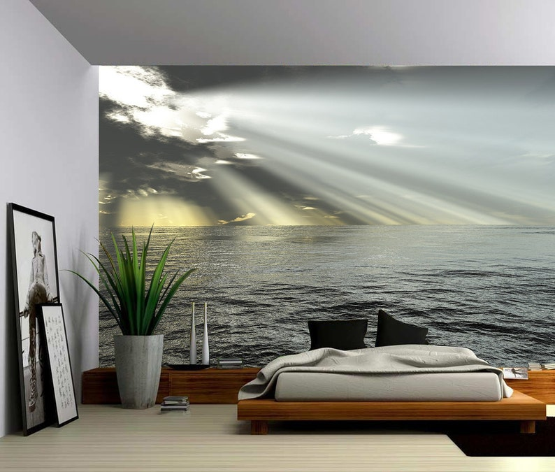 Seascape Ocean Rays of Light  Large Wall Mural Self-adhesive image 0