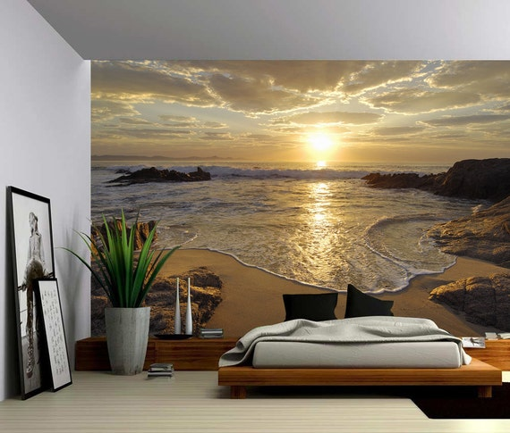 Sunrise Sea Ocean Wave Sunset Beach Large Wall Mural Self Adhesive Vinyl Wallpaper Peel Stick Fabric Wall Decal