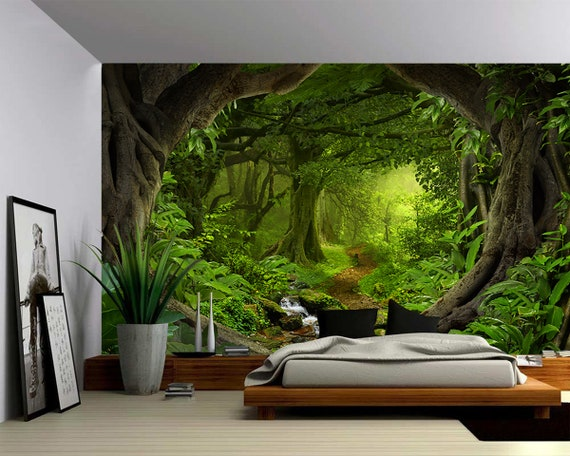 Fantasy Enchanted Magical Forest Large Wall Mural Etsy