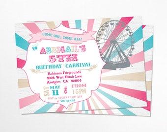 Girly Carnival Birthday Invitation, Vintage - Printable