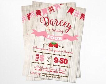 Rustic Picnic Birthday Invitation - Printable