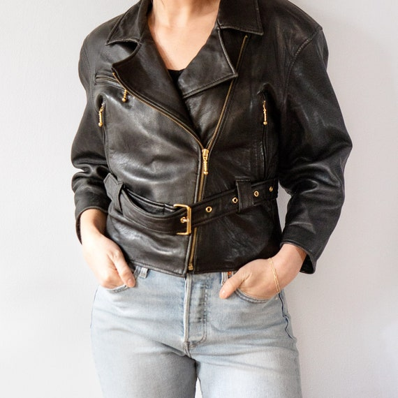 Vintage Women's Black Belted Soft Leather Cropped