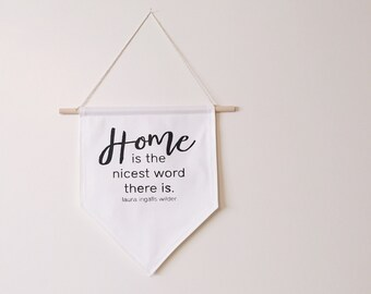 Wall banner, wall hanging, wall decor, wall art, home decor, home word art, fabric wall banner, gallery wall, canvas, little house