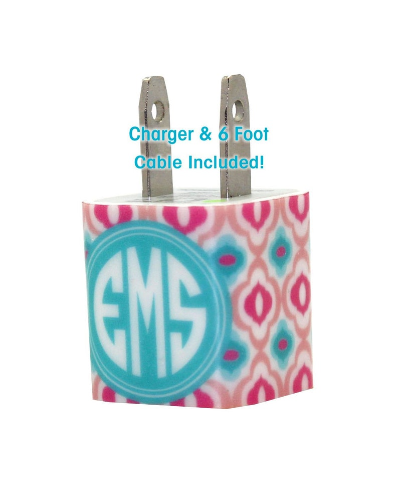 Monogram Phone Charger Custom Charger iPhone Accessories -Gift For Her -Apple Certified Portable Charger Personalized Phone Charger