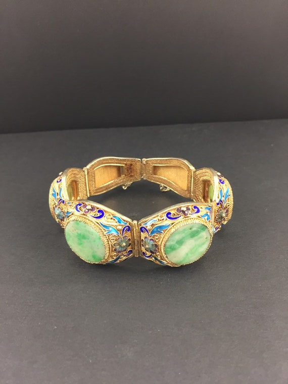 Vintage Chinese Export Enamel and Jade Bracelet