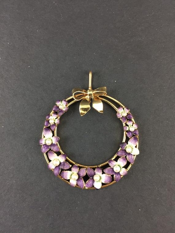 Violet Pansy Enamel Pendant   Antique Art Nouveau… - image 1