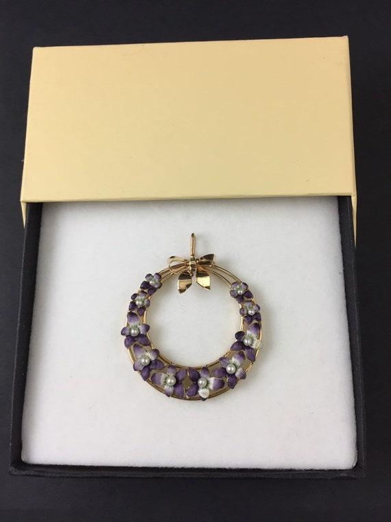 Violet Pansy Enamel Pendant   Antique Art Nouveau… - image 2