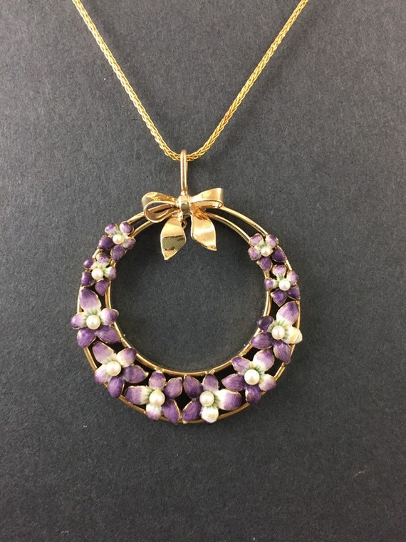 Violet Pansy Enamel Pendant   Antique Art Nouveau… - image 4