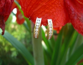 1 Carat Diamond J Hoop Earrings 14K Gold.Free Shipping! Layaway welcome