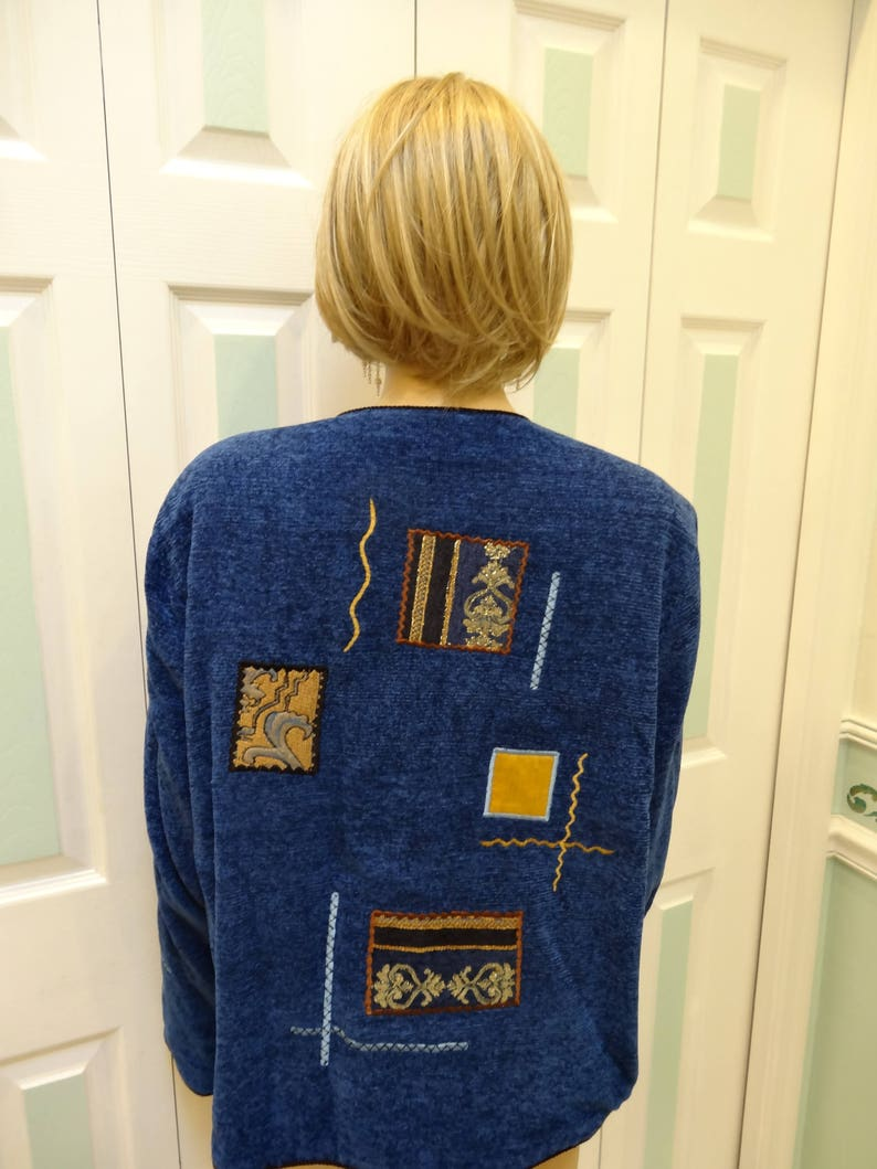 fully lined Women/'s jacket circa 1990s size extra large BLUE DENIM VELVEt black cord trim gold trim beige appliques fancy buttons