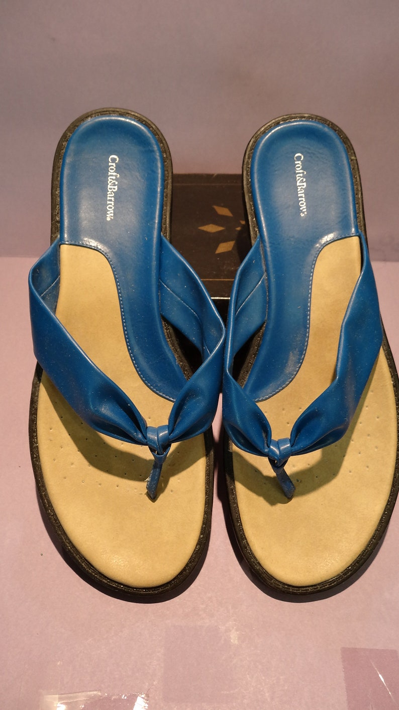WOMEN/'S thong SANDALS USA 9.5,Eur.43 all man made materials like new bright blue slip-on thong style