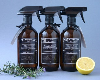 Amber glass spray bottles. DIY cleaning set with black designer re-usable label decals