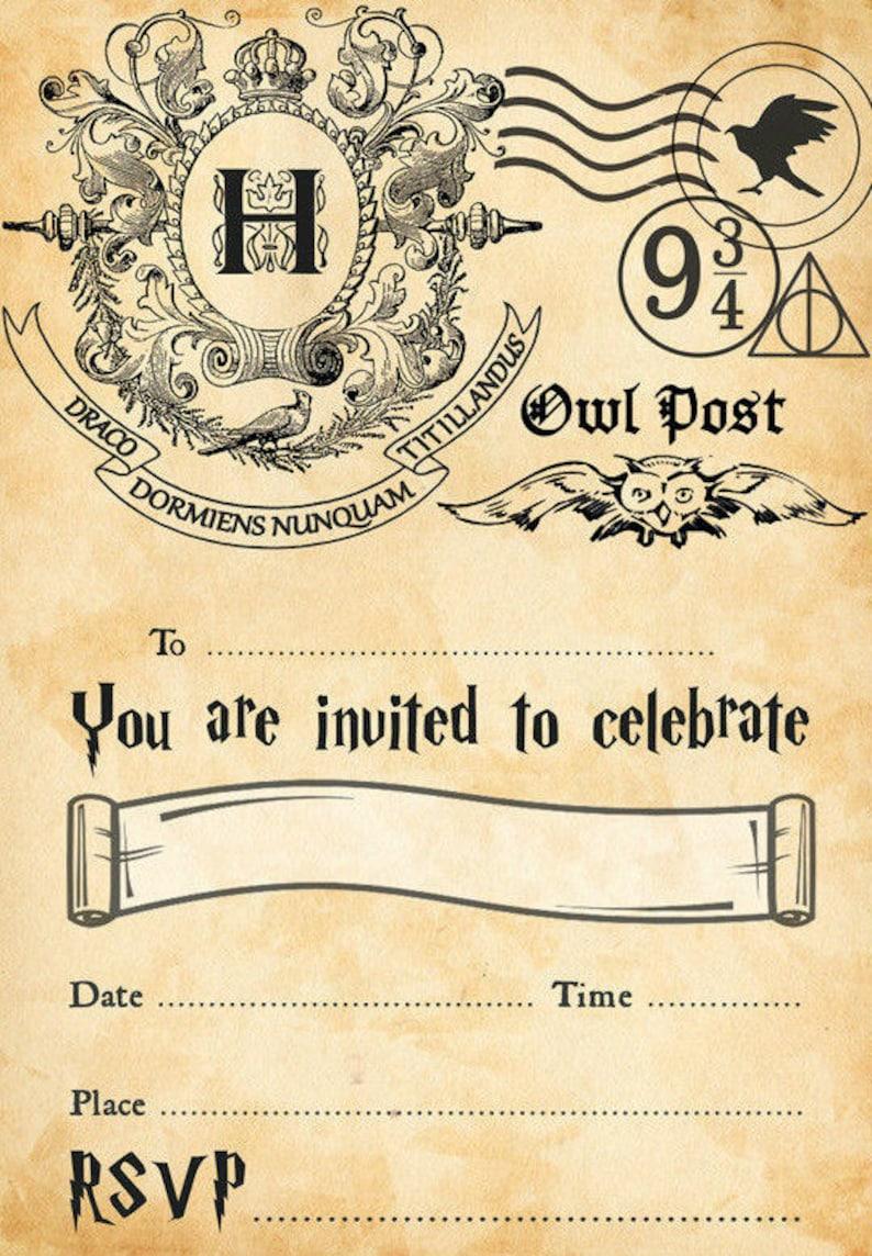 Harry Potter Hogwarts Birthday Party Invitations Instant