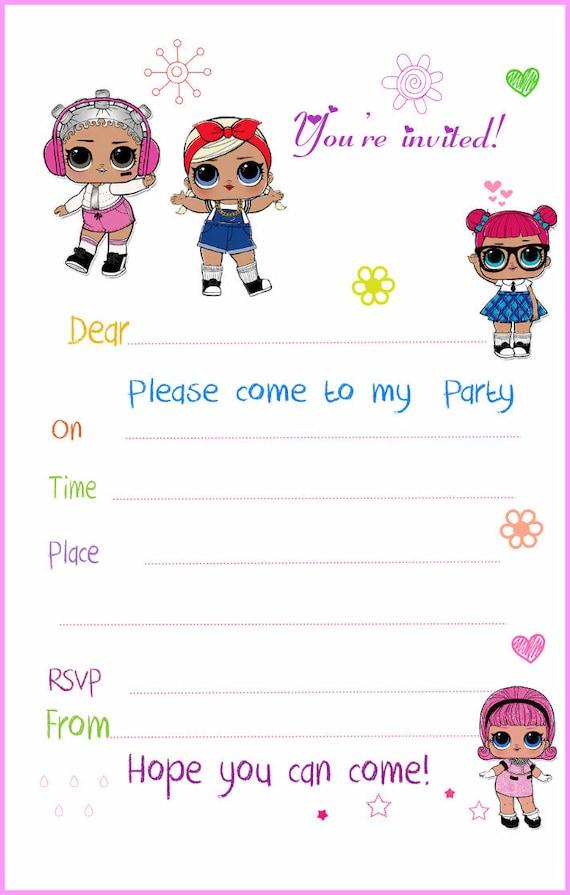 Lol Surprise Party Invitations X 10 C W Envelopes Etsy