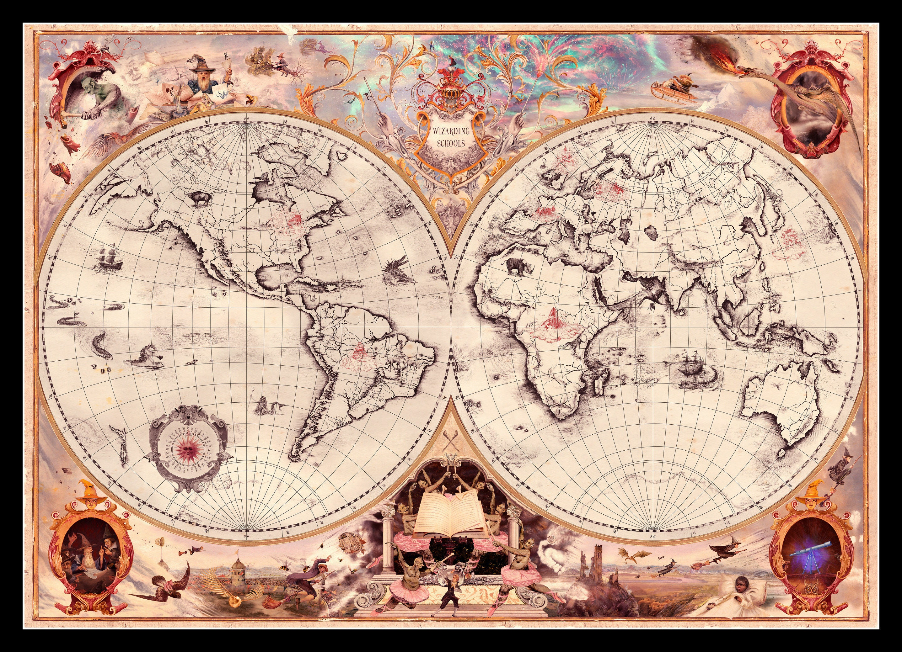 Paper World Map Sse.Harry Potter Wizarding Schools Map Of The World Art Poster Etsy
