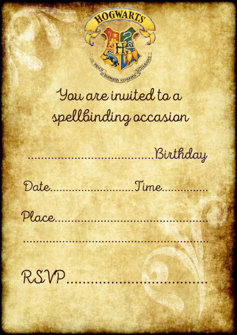 Harry Potter Hogwarts Birthday Party Invitations X 10 C W