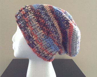 The Wesley   Multi-Color Crochet Slouchy Beanie