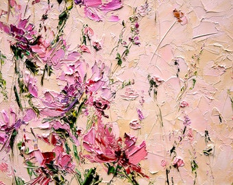 Pink flower painting etsy flower painting oil palette knife painting on canvas peony painting abstract flowers living room wall art light pink flowers painting oil mightylinksfo