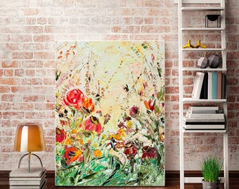Red Flower Wall Art Russian Landscape Painting Wildflower Print Giclee Canvas Large Field Flowers Floral Art Print Palette Knife Landscape