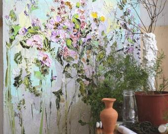 Ölgemälde Blumen Ölgemälde Blumen Spachtel Malerei Auf Leinwand Lila Malerei  Wohnzimmer Kunst Arbeiten Kunst Pastosen Blumenmalerei
