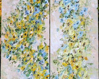 Large Original Oil Painting Blue Turquoise Yellow Beige Art Flowers Diptych Side by Side Painting Impasto Textured Impressionism 150x140 cm