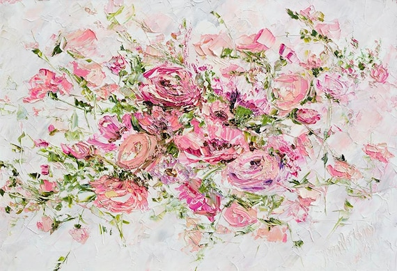 Flower oil painting canvas pink oil painting pink flower oil etsy image 0 mightylinksfo
