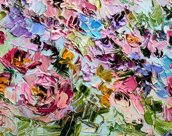 Art for Kitchen Oil Painting Flowers Impasto Palette Knife Wall Art Decor Living Room Roses Pions Peonies Rosa Aster Bouquet Custom Painting