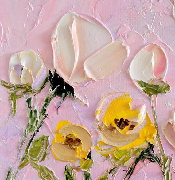 Dipinti ad olio piccolo fiore pittura tela Tulip Impasto fiore   Etsy