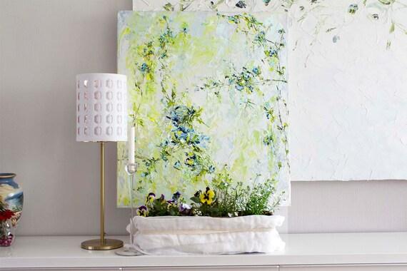 Blau Grau Malerei Öl Blumen Leinwand Spachtel Schwer   Etsy