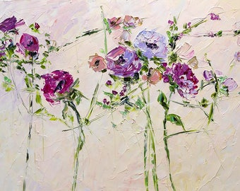 Large Paintings Canvas Floral Bouquet Flute in the Rays of Dawn Impasto Palette Knife Art Bedroom Wall Decor Lilac Violet Rose Burgundy Beig