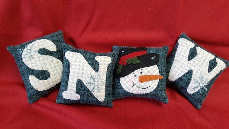 Pillow Tuck PATTERN Wool applique by White Oak Ridge Designs SNOW Letters Bowl Filler