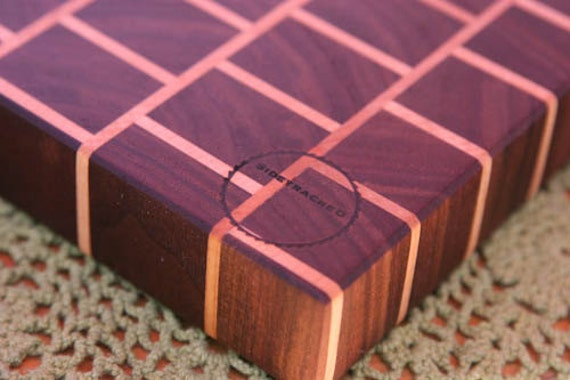 end grain cutting board in a brick and mortar pattern etsy