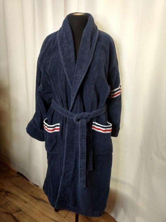 Vintage Arus Bathrobe Robe Turkish Red White Blue… - image 10