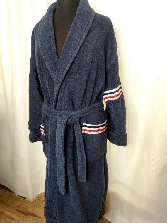 Vintage Arus Bathrobe Robe Turkish Red White Blue… - image 9