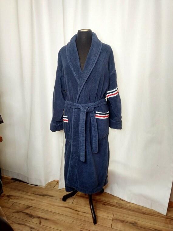 Vintage Arus Bathrobe Robe Turkish Red White Blue… - image 2