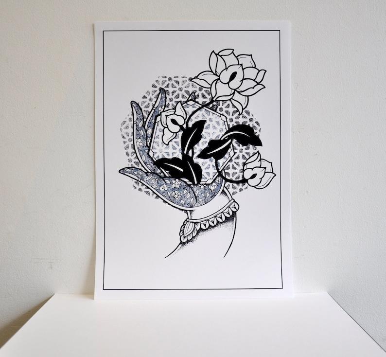 Sale A3 White Mudra Hand With Lotus Flower Hindu Buddhist Etsy