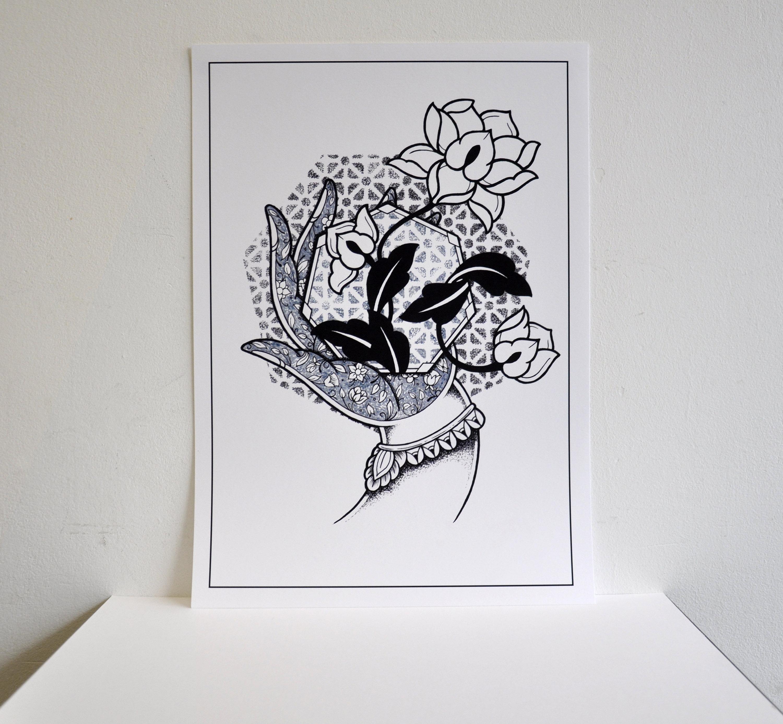 Sale a3 white mudra hand with lotus flower hindu buddhist etsy zoom izmirmasajfo