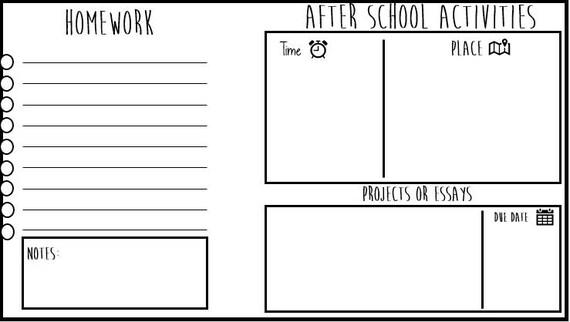 After School Planner Printable Includes Homework Etsy