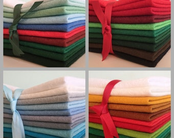 Christmas Wool Blend Felt Pack - 10 pieces per pack - choice of colour ranges & sizes