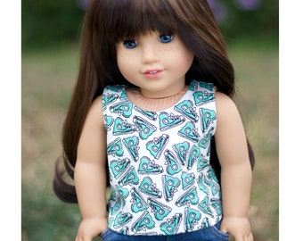 Fits Like American Girl Doll Clothes.  18 Inch Doll Shirt.  White Tank Top with Aqua Sneaker Print.  Boy or Girl Top.