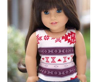 Fits Like American Girl Doll Clothes.  18 Inch Doll Shirt.  Ivory, Plum, and Red Tribal-Print Tank Top.