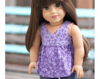 Fits Like American Girl Doll Clothes.  18 Inch Doll Shirt.  Lavender and Purple Floral Babydoll Top.