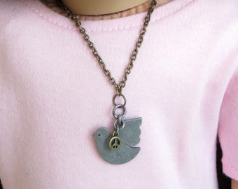 18 Inch Doll Necklace.  Fits American Girl Doll and Others.  Dove and Peace Sign Necklace.