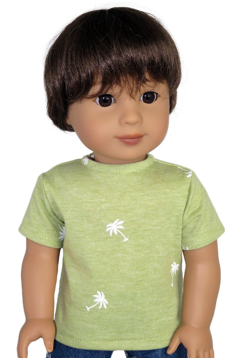 """Fits American Girl Doll Our Generation 18/"""" Boy Dolls Clothes White T-Shirt Green"""